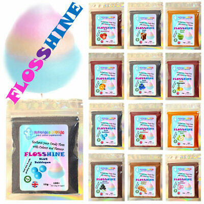 FLOSSHINE BUBBLE GUM BLUE 12g mix,to make own sugar 25 flavours 10 clrs flossine