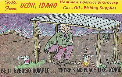 Postcard Hello From Ucon Idaho Hammon's Service And Grocery No Pleace Like Home