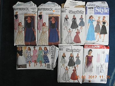 Lot Of 7 Vintage Dress Sewing Patterns From The 1980S 1990S & Early 2000S