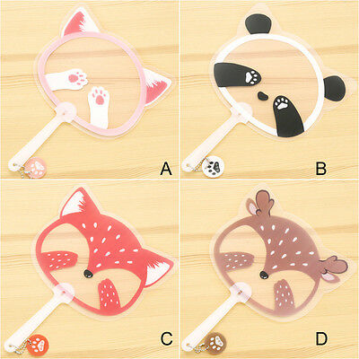 Cartoon animal CUTE panda fox circular portable Plastic Hand Fans Crafts party