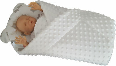 BlueberryShop MINKY with Pillow Very WARM and Cute Swaddle Wrap Blanket Sleepi