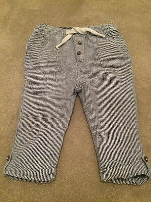 Marks And Spencer Autograph Boys Blue Striped Tailored Trousers 9-12 Months