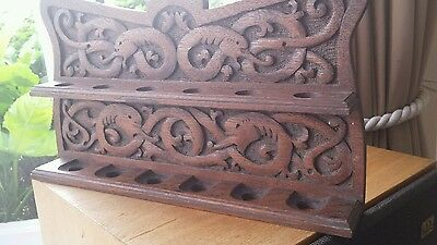 Antique Arts and Crafts Smokers Carved Oak Pipe Rack