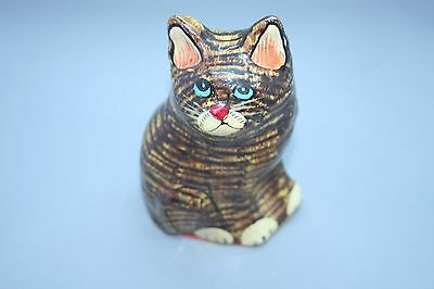 Small Stiped Cat Figurine/Ornament from Kashmir Paper Mache Blue Eyes