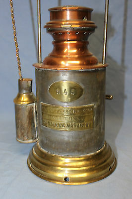 Old French Brass Copper Railway Lamp Lantern Complete With Burner