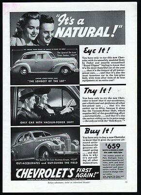 Vintage 1940 Chevrolet ad Master 85 Special De Luxe Business Coupe & Town Sedan