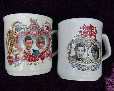 Cups celebrating Charles and Diana wedding