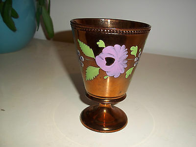 """4 1/2"""" tall ceramic goblet in copper lustre with flowers and leaf decoration,"""