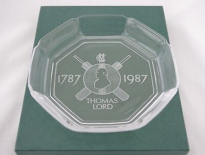 MCC Lord's Anniversary Glass Dish/ Ashtray- Thomas Lord 1787 to 1987- Mint