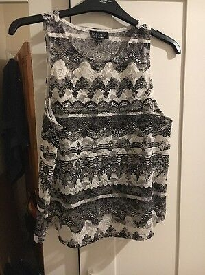 Topshop Black And White Lace Top Size 10
