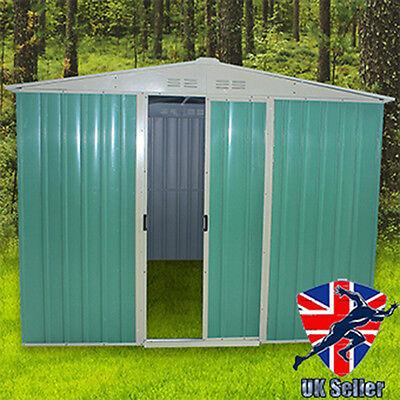 """Panana 8"""" ft X 8"""" ft  Green Garden Shed Metal Apex Outdoor Storage Foundation"""