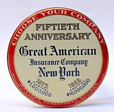 1922 GREAT AMERICAN INSURANCE CO. N.Y. celluloid ad paperweight pocket mirror *