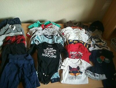 Lot of 27 Boys Newborn Clothes Pants Sleepers Onesies Hats