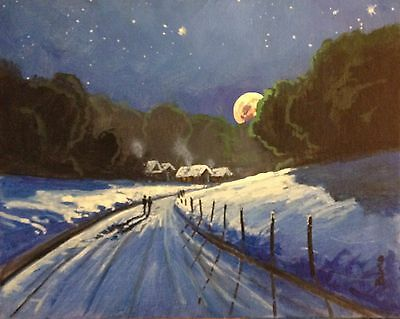 ORIGINAL OIL PAINTING CALIFORNIA  ARTIST Bumo  ROAD SNOW   LANDSCAPE  . ART