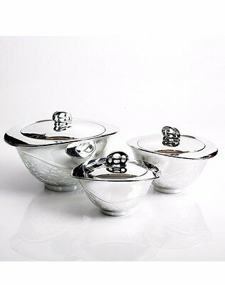 3pcs Hot Pot Food Warmer Storage Round Insulated Casserole Set Silver