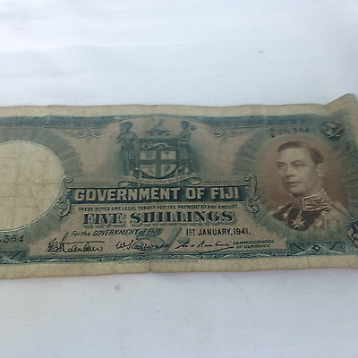 Government Note Of Fiji 5 Shillings 1941 Paper Money