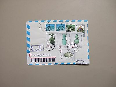 San Marino aerogramme registered from China with set+6X same stamp 150 yoan