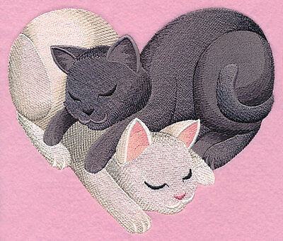 Embroidered Snuggling cats heart quilt block, fabric,cushion panel,valentine day