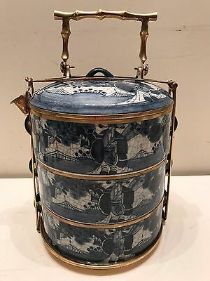 blue white Maitland Smith 3 tiered stacking compotes with brass carrying frame