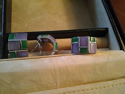 GORGEOUS 925 Solid Sterling Silver set  Natural Jams  RING size U-V and EARRINGS