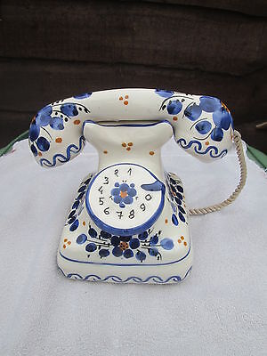 European vintage pottery full  size old fashioned Telephone painted flowers