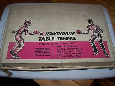 Vintage HAWTHORNE Table Tennis Set MONTGOMERY WARD Ping Pong Official