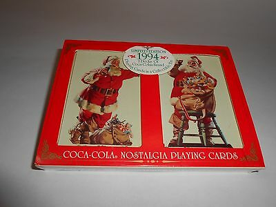 1994 Santa Claus Coca-Cola Playing Cards 2 Deck Tin Christmas Stocking Stuffer