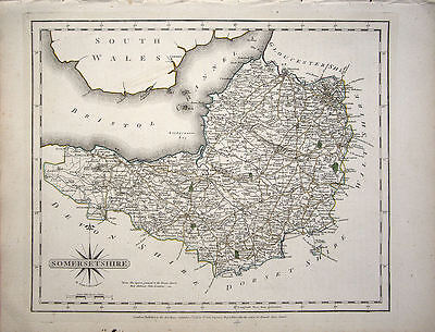 ANTIQUE MAP: SOMERSETSHIRE. JOHN CARY. 1st EDITION 1787. ORIGINAL HAND COLOURING