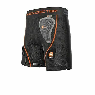 Shock Doctor Women's Core Loose Hockey Shorts with Pelvic Protector, X-Small