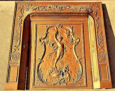 Rare Antique Cast Iron Figural Angel Fireplace Surround & Summer Cover Insert