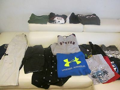 Huge Lot of 18 Boys Clothes Size 12- 14 S- L YOUTH hoddies, pants under Armour