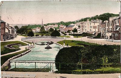 Dawlish, The Lawns, old coloured postcard, posted 1906