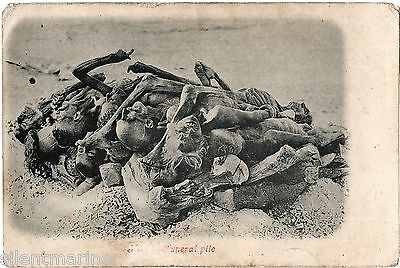 Hindu Funeral Pile, Bodies prepared for Cremation, old b+w postcard, unposted