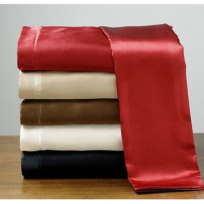 Silk Feel Satin Pillowcase+Fitted+Flat Bed Sheet Set Polyester New