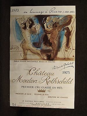 Chateau Mouton Rothschild 1973 Picasso Wine Label