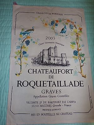 Vtg Chateaufort De Roquetaillade Tea Towel Paris French Art Kitchen -123