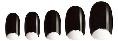 Manicare Glam Almond French Nails Half Moon Black