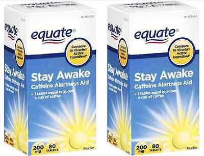 2 x Equate Stay Awake Caffeine Alertness Aid 200 mg 80 Ct Tablets (160 ct total)