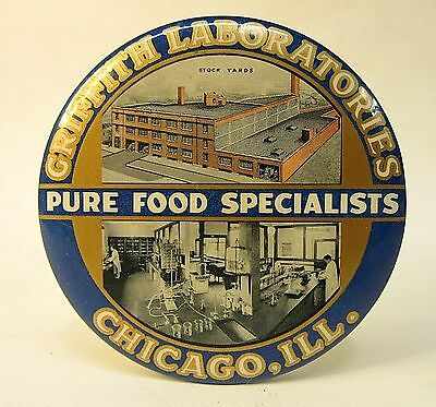 1930's GRIFFITH LABORATORIES STOCK YARD Chicago paperweight pocket mirror *