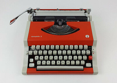 Vintage Orange Olympia Olympiette 3 Portable Manual Typewriter with Case
