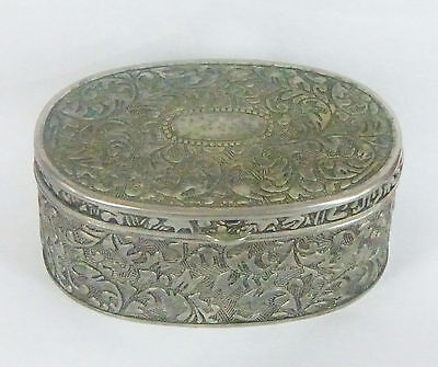 Vintage Oval Beautifully Decorated Silver Plate Trinket Box
