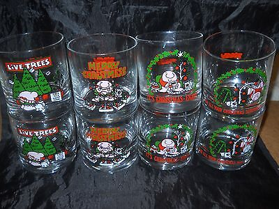 Vintage Set of 8 ZIGGY Christmas Lo-Ball Glasses-4 Different Style