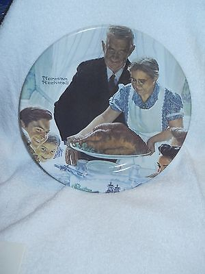 "NORMAN ROCKWELL FREEDOM FROM WANT METAL PLATE 10"" 1979  PLATE Thanksgiving"