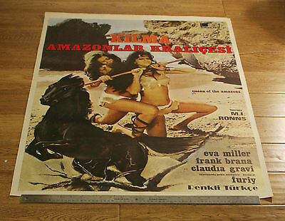 KILMA QUEEN OF THE AMAZONS - ORIGINAL TURKISH 1977 MOVIE FILM Poster -SEXY FIGHT