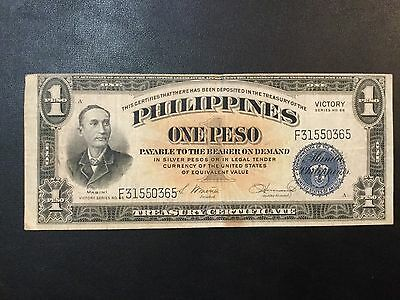 1944 Usa-Philippines Paper Money - One Victory Peso Banknote !