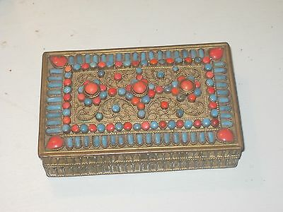 Vintage Tibetan Turquoise and Coral Mounted Hinged Brass Dresser Box
