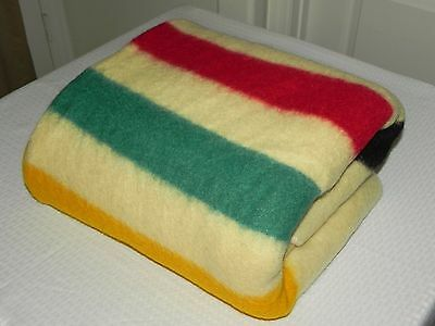 Antique 1860's Hudson's Bay Heavy 100% Wool Blanket Texas Estate 84x65 Twin Bed