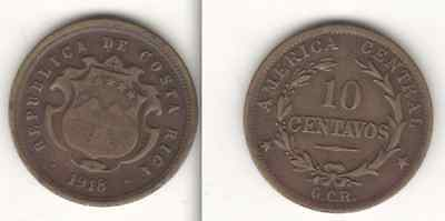 4 Coins of Central America - 1918 to 1953