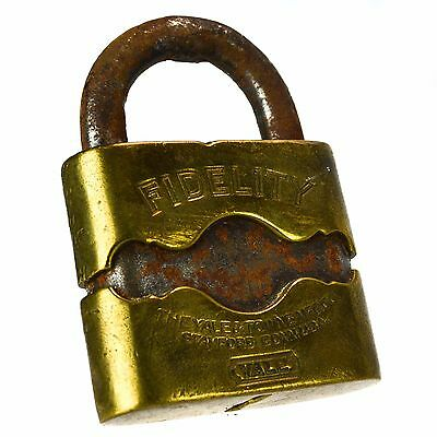 YALE & TOWNE FIDELITY Padlock Brass Antique Vintage Old Lever Lock (no key)