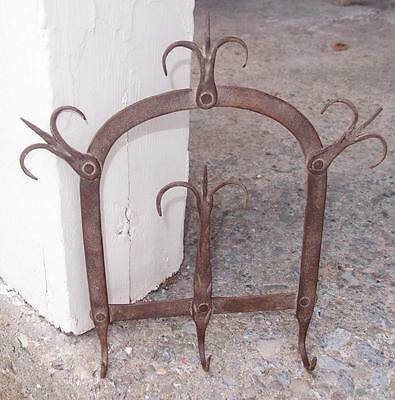 THE BEST EARLY 19th C WROUGHT IRON GAME UTENSIL RACK 18th FOLK ART ANTIQUE